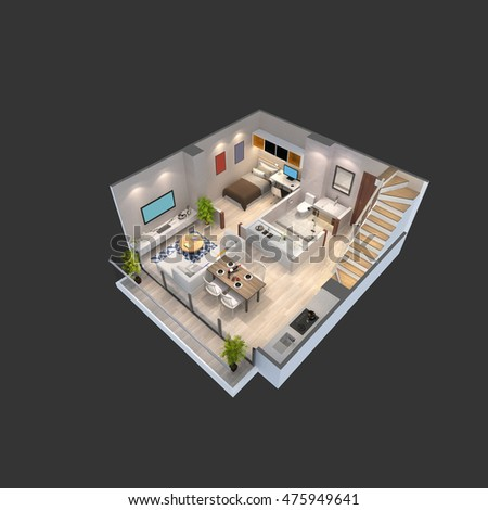 3d illustration of a penthouse isometric plan