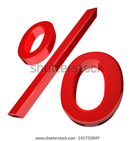 3d illustration of a percentage symbol in red angled obliquely with receding perspective on the left isolated on a white background - stock photo