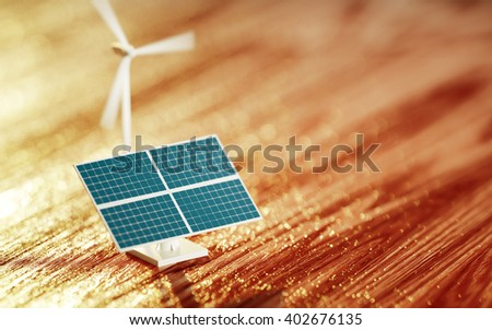 3D Illustration of a photovoltaic toy and wind turbine model with blurred background - stock photo