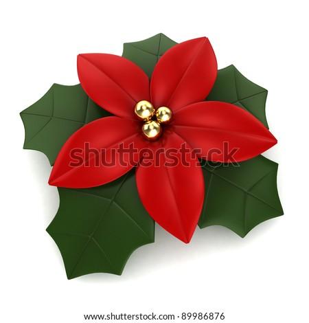 3D Illustration of a Poinsettia - stock photo