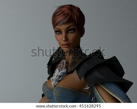 3d illustration of a portrait of mulatto young woman wearing midages clothing - stock photo