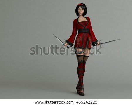 3d illustration of a pretty asian young girl in red outfit holding sai - stock photo