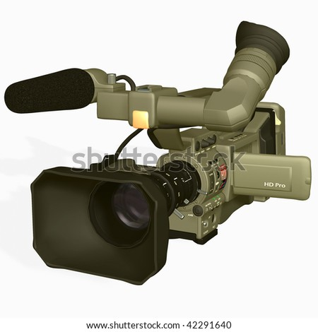 3D-Illustration of a professional HDTV-Video-Camera - stock photo