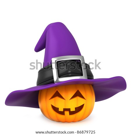 3D Illustration of a Pumpkin Wearing a Witch Hat - stock photo