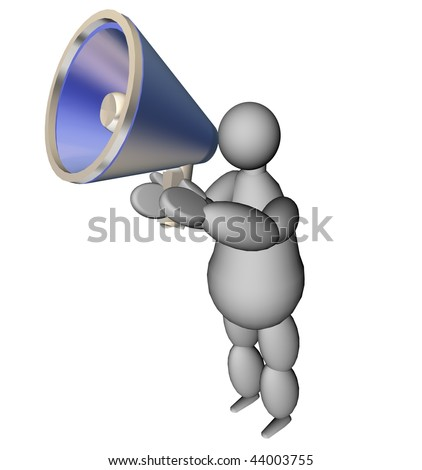 3D illustration of a puppet with a blue megaphone