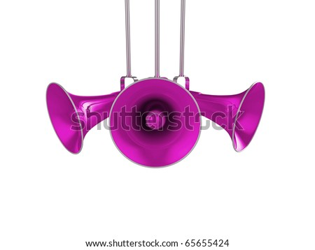 3d illustration of a purple/pink shiny loudspeaker system - stock photo
