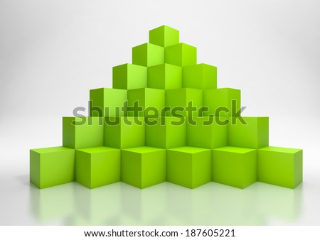 3d illustration of a  pyramid of green cubes - stock photo