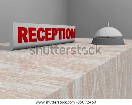 3d illustration of a reception sign and service bell