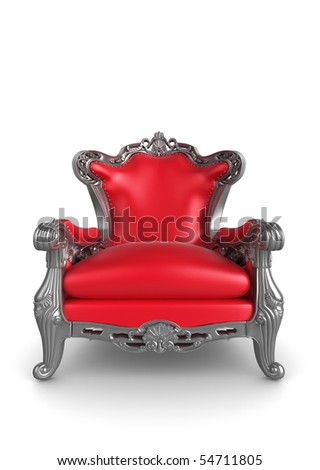 3d illustration of a red and silver antique armchair - stock photo