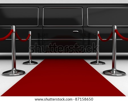 3D Illustration of a Red Carpet Extending to a Parked Limousine - stock photo