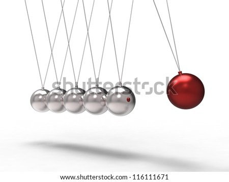 3d illustration of a red chrome ball which strikes another ball - stock photo