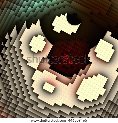 3d illustration, of a red light burning from the bottom of the pyramid - stock photo