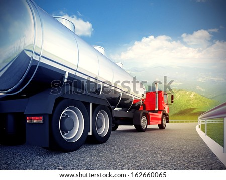 3d illustration of a red truck on asphalt road under blue sky - stock photo