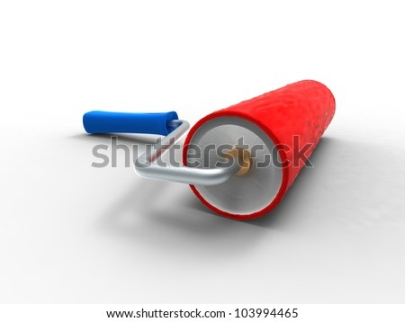 3d illustration of a roll paint red and blue on white background - stock photo