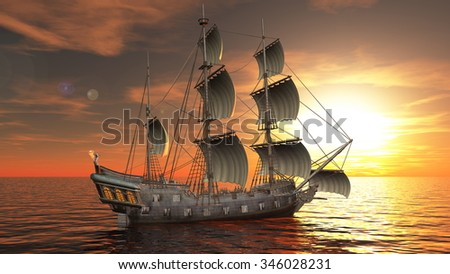 3D illustration of a sailing boat