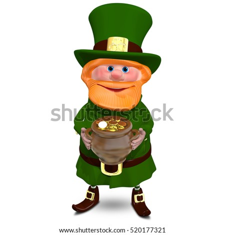 3D Illustration of a Saint Patrick with a Pot of Gold