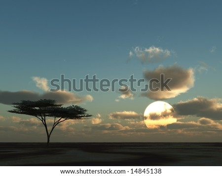 3d illustration of a savanna landscape at sunset with clouds over the horizon - stock photo