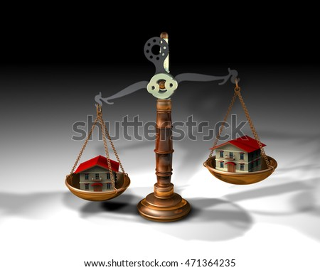 3d illustration of a scale and two houses