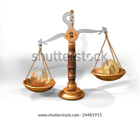 3d illustration of a scale with dollar and euro coins - stock photo