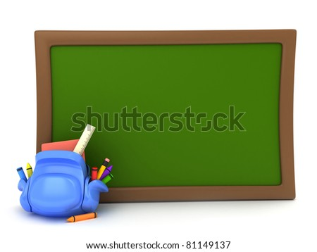 3D Illustration of a School Bag Lying Beside a Blackboard - stock photo