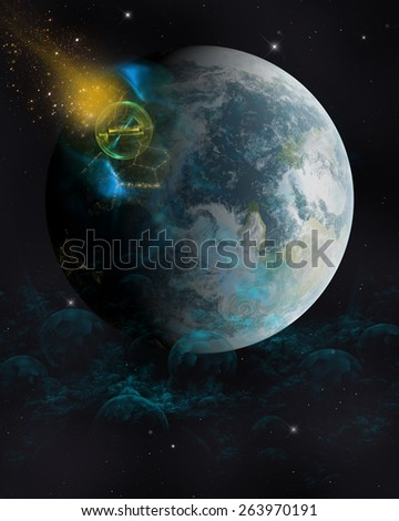 3D Illustration of a Sci-Fi background.  Featuring a giant blue and white planet with a meteor  and space debris  on a  black star field.  All ready for your Photo-Manipulations or 3D Renders. - stock photo