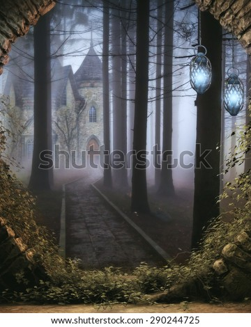 3D illustration of a secret elven castle viewed through a stone portal with elven lanterns hanging in the entryway and a path leading up to the castle through a wooded forest.