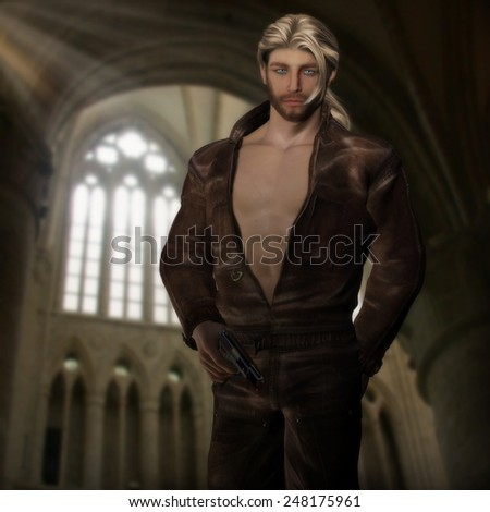 3D illustration of a sexy blonde haired gent in a leather jumpsuit holding a gun with light streaming through the background windows.  - stock photo
