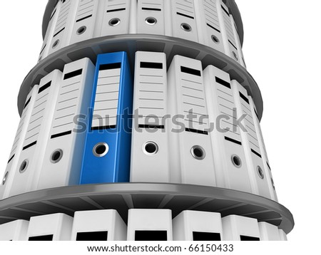 3d illustration of a shelves of files, with one blue folder standing out - stock photo