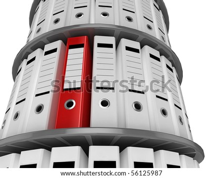 3d illustration of a shelves of files, with one red folder standing out - stock photo