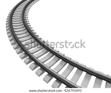 3D Illustration of a Single curved railroad track isolated