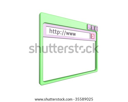 3d Illustration of a single internet browser window, isolated on a white background. - stock photo