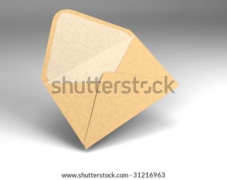 3D illustration of a single open envelope - stock photo