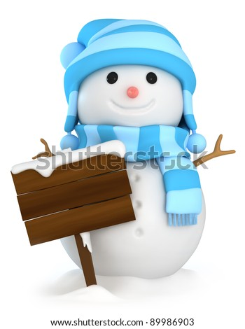 3D Illustration of a Snowman Holding a Blank Board - stock photo