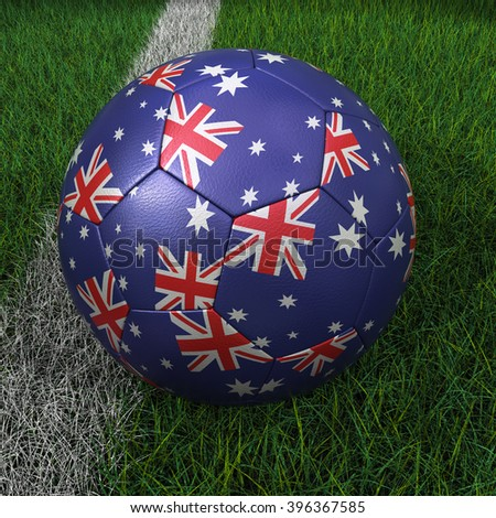 3D illustration of a soccer ball with Australia flag on green field. - stock photo