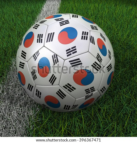 3D illustration of a soccer ball with South Korea flag on green field. - stock photo