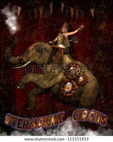3d illustration of a Steam punk Female riding a mechanical circus elephant.  The elephant is blowing steam out of his truck and the female has a wind up key in her back.  Steam punk Circus. - stock photo
