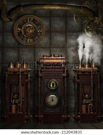 3d illustration of a Steampunk Background.  Contains misc metal gadgets, gears and clocks plus a bit of steam.  Ready for your photo-manipulations or 3D renders.