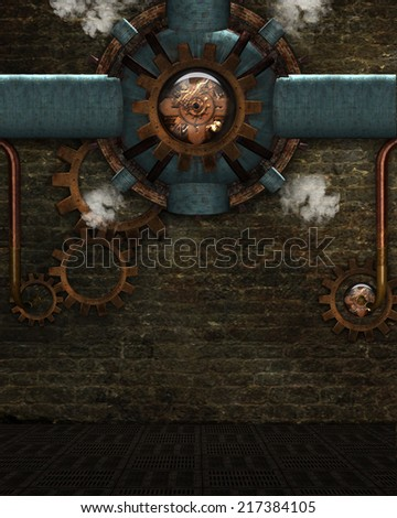 3d illustration of a Steampunk Background. Contains misc metal gadgets, gears and pipes plus a bit of steam. - stock photo