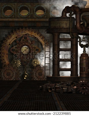3d illustration of a Steampunk Background. Contains misc metal gadgets, gears and pressure gages,  plus a bit of steam. Ready for your photo-manipulations or 3D renders.  - stock photo