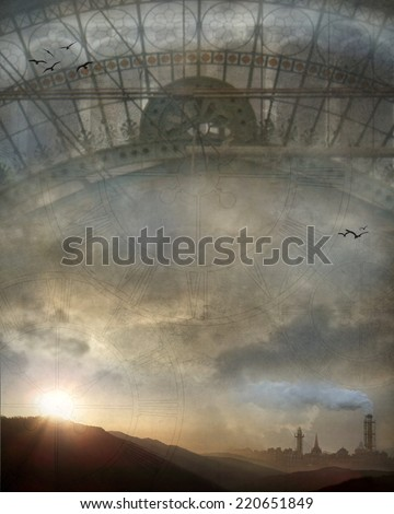 3D Illustration of a Steampunk train station roof with an industrial city in the background and clouds and grungy textures overlaid.