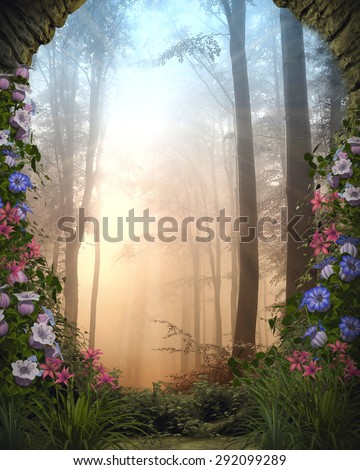 3D Illustration of a  stone woodland entryway surrounded by brightly colored flowers and vines.  A misty mysterious forest appears in the background.  Perfect for your renders and photo-manipulations  - stock photo