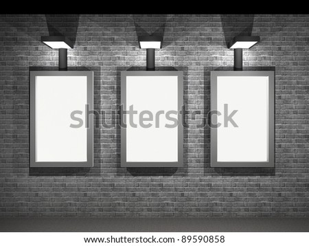 3d illustration of a street advertising panel at night