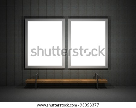 3d illustration of a 2  street advertising panels at night - stock photo