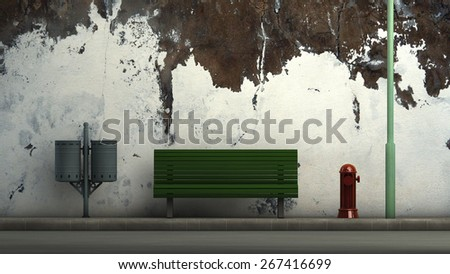 3d illustration of a street and street furniture - stock photo
