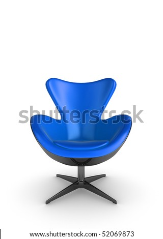 3d Illustration of a stylish blue chair, on a white background - stock photo