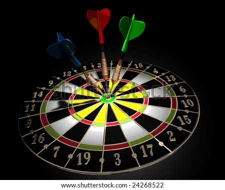 3d illustration of a target  and three colored darts on dark background