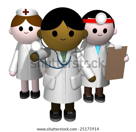 3D illustration of a team of medical professionals - stock photo
