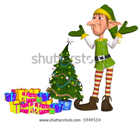 3d illustration of a tired christmas elf with lots of gift and a christmastree - stock photo