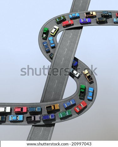 3D illustration of a traffic jam - stock photo