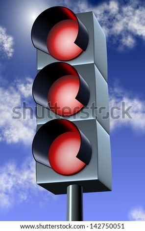 3d illustration of a traffic light with all lights in red / Traffic red light